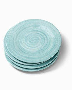 Blue Swirl Melamine Dinner Plates - Set of 4