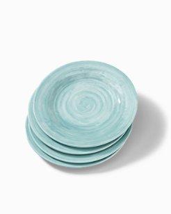 Blue Swirl Melamine Salad Plates - Set of 4