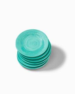 Turquoise Swirl Melamine Appetizer Plates - Set of 6