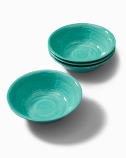 Turquoise Swirl Melamine Small Bowls - Set of 4