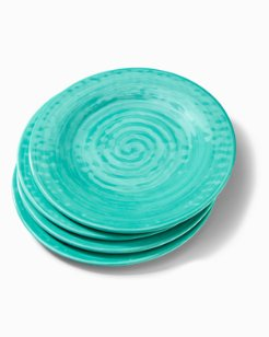 Turquoise Swirl Melamine Dinner Plates - Set of 4