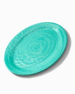 Turquoise Swirl Melamine Oval Platter