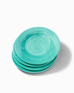 Turquoise Swirl Melamine Salad Plates - Set of 4