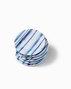 Ink Stripe Melamine Appetizer Plates - Set of 6