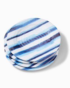 Ink Stripe Melamine Dinner Plates - Set of 4