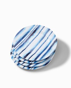 Ink Stripe Melamine Salad Plates - Set of 4