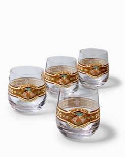 Hula Paradise Double Old Fashion Glass Set - Set of 4