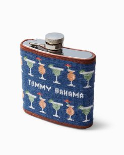 Cocktails Embroidered Flask