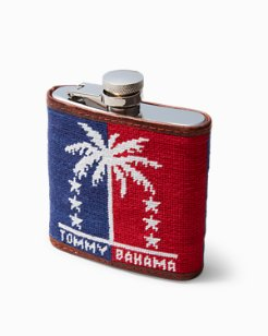 Palms & Stars Embroidered Flask
