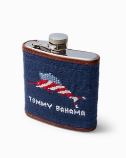 Flag Marlin Embroidered Flask