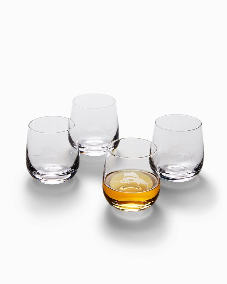 Main Image for Etched Marlin Double Old Fashioned Glass Set - Set of 4