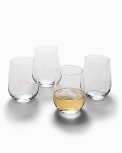 Etched Marlin Stemless Wine Glass Set - Set of 4