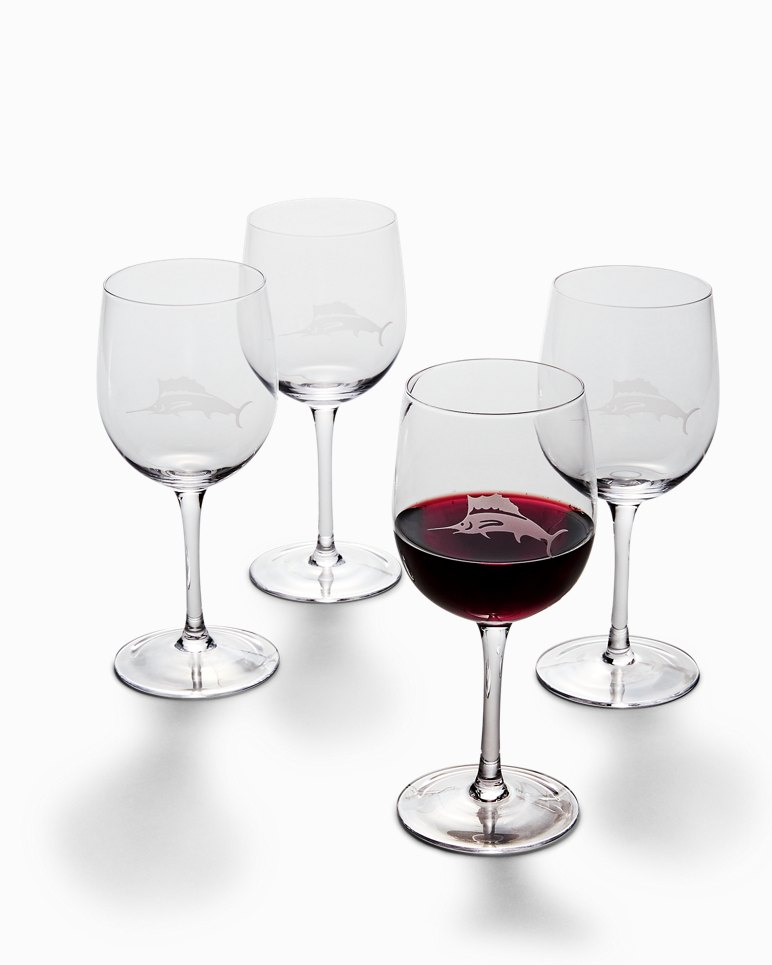 Main Image for Etched Marlin Red Wine Glass Set - Set of 4