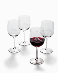 Etched Marlin Red Wine Glass Set - Set of 4