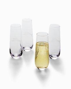 Etched Marlin Stemless Flute Glass Set - Set of 4