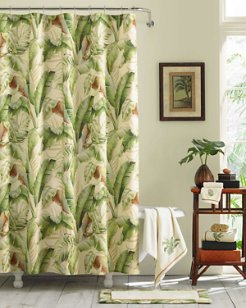 Palmiers Medium Green Shower Curtain