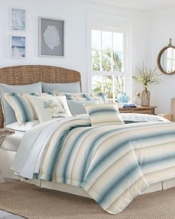 La Prisma Stripe Medium Blue Comforter Set, Queen