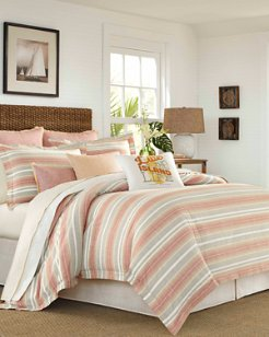 Sunrise Stripe Burnt Coral Comforter Set, Queen