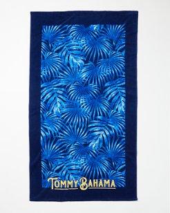 Blue Palm Frond Beach Towel