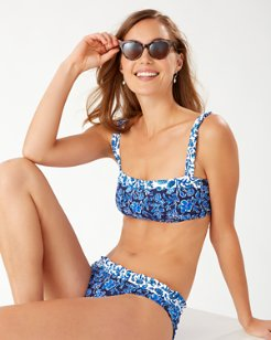 Woodblock Blossoms Reversible Bikini Top