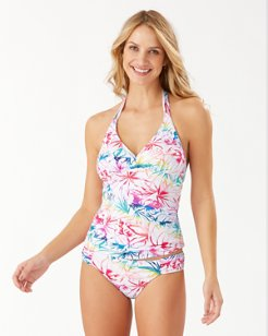 Rainbow Fronds Reversible Halter Tankini