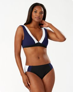 Island Cays Colorblock Scoop-Back Bikini Top