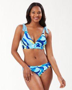 Swirl Tide Reversible Tie Strap Bikini Top