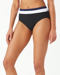 Color Block Reversible High-Waist Bikini Bottoms
