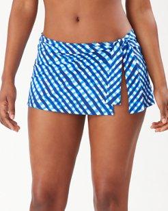 Harbour Island Gingham Skirted Hipster Bikini Bottoms