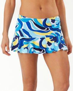 Swirl Tide High-Waisted Skirted Bikini Bottoms