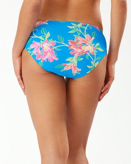 Sun Lilies Side-Shirred High-Waist Bikini Bottoms