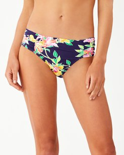 Sun Lilies Side-Shirred High-Waist Bikini Bottoms
