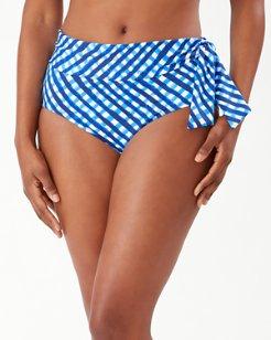 Harbour Island Gingham High-Waist Bikini Bottoms