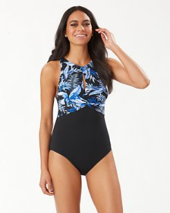 Indigo Garden High-Neck One-Piece Swimsuit