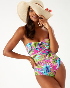 Sun-Kissed Tropics Bandeau One-Piece Swimsuit
