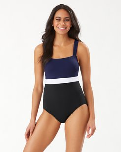 Island Cays Colorblock Square-Neck One-Piece Swimsuit