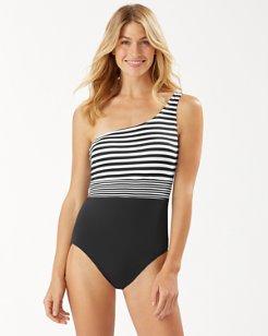 Breaker Bay Stripe One-Shoulder One-Piece Swimsuit