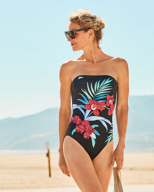 Midnight Orchid Bandeau One-Piece Swimsuit