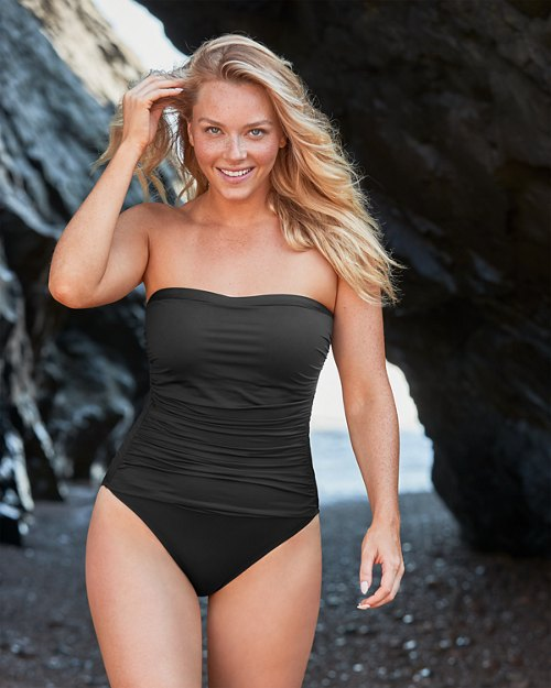 Pearl Shirred Bandeau One-Piece Swimsuit