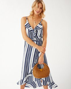 Tan Lines Stripes Ruffled Wrap Dress