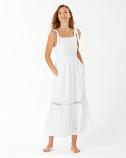 St. Lucia Linen-Blend Square-Neck Dress
