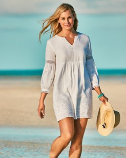 St. Lucia Linen-Blend Split-Neck Dress