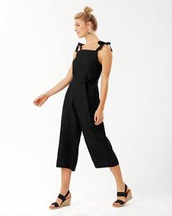 St. Lucia Linen-Blend Cropped Jumpsuit