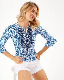 Woodblock Blossoms Ruffle-Sleeve Embroidered Rash Guard