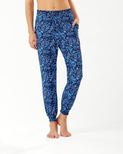 Woodblock Blossoms Jogger Pants