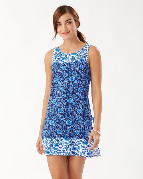 Woodblock Blossoms Romper Dress