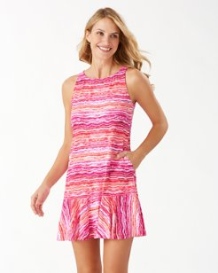 Rainbow Fronds High-Neck Flounce Dress