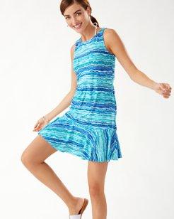 Rainbow Fronds High-Neck Flounce Dress
