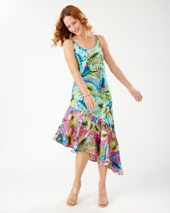 Sun-Kissed Tropics Asymmetric Ruffled Dress