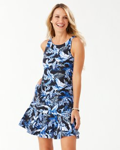 Indigo Garden High-Neck Dress